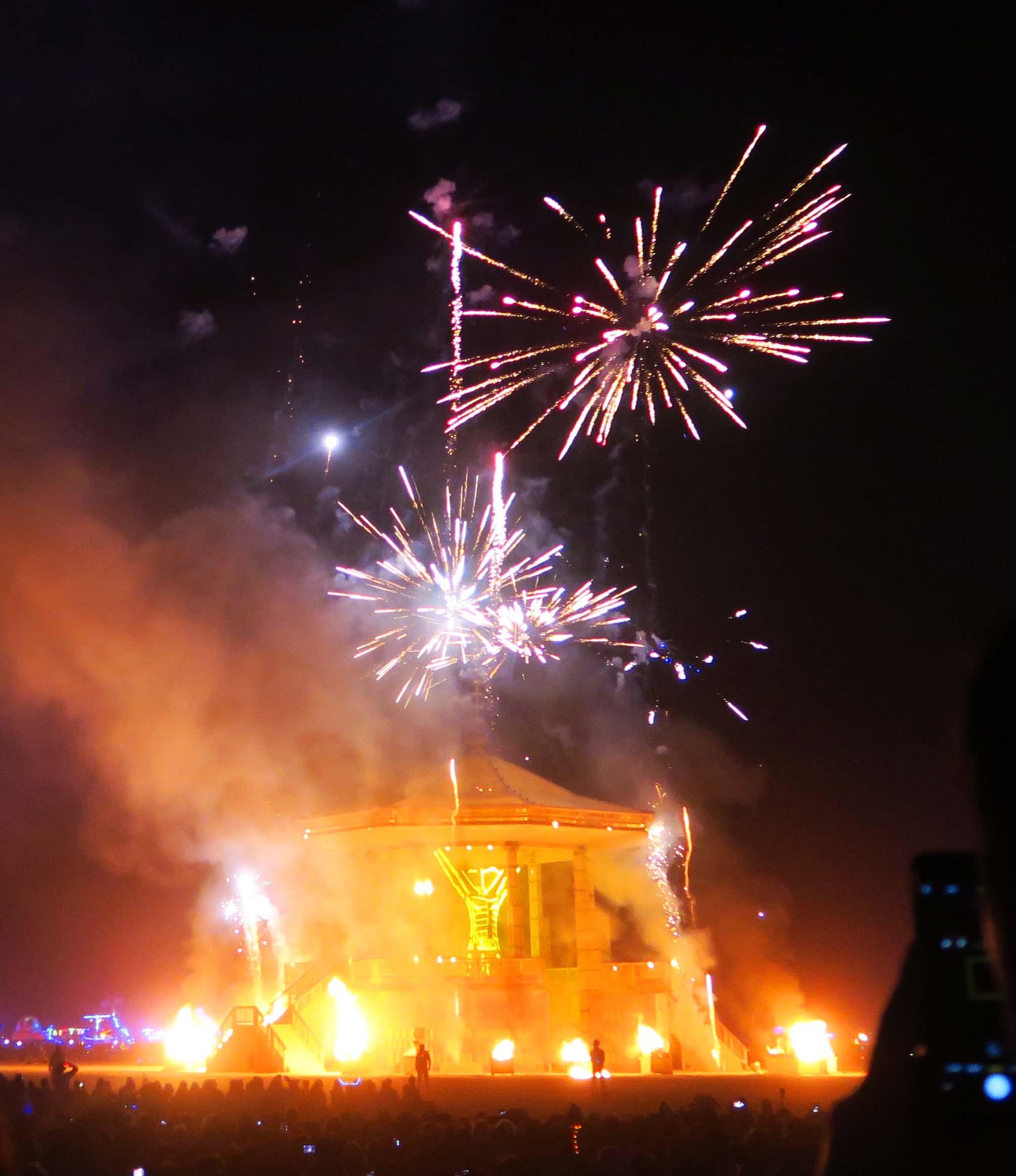 Fireworks on Burn night 4, Burning Man 2017