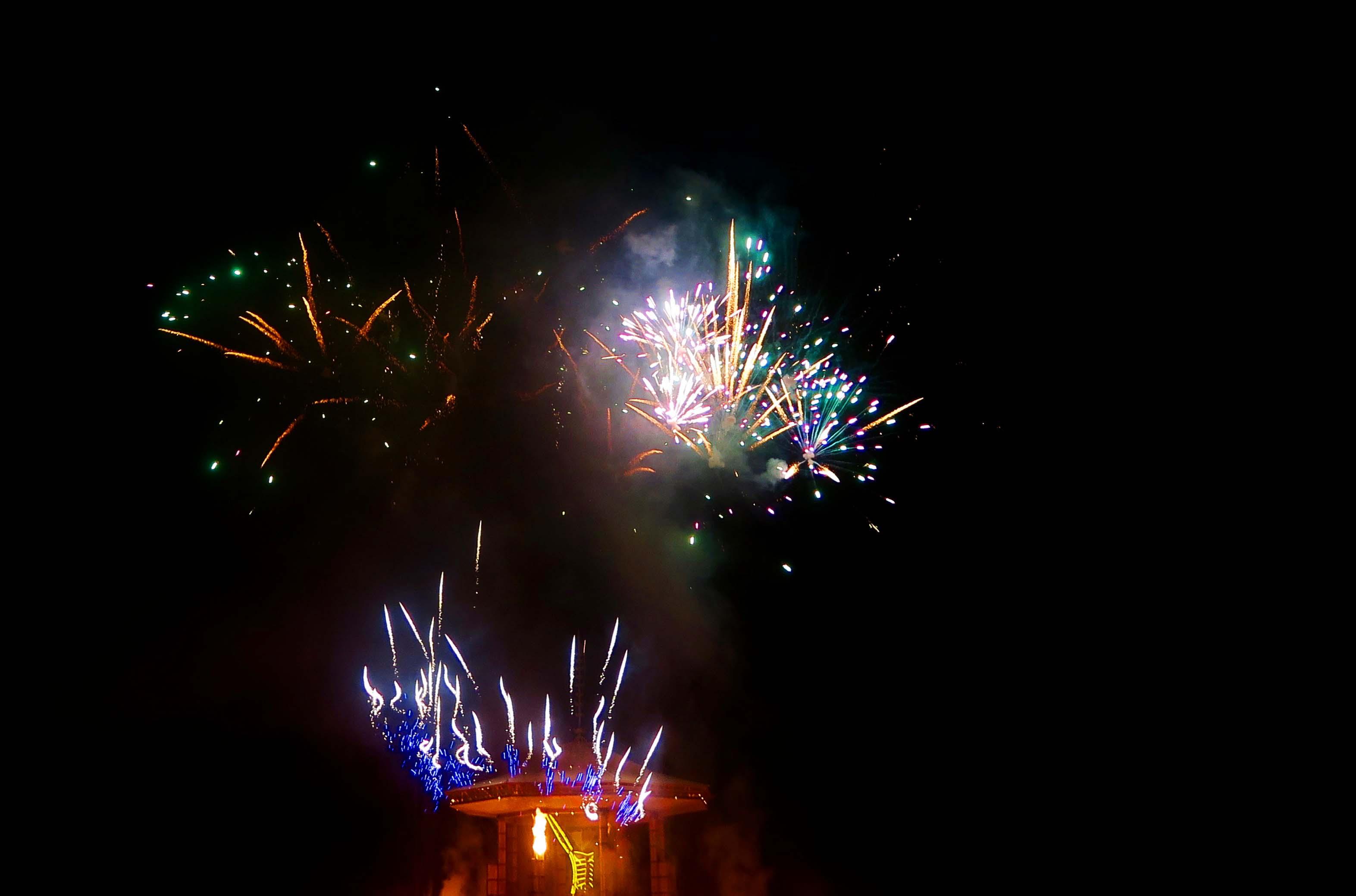 Fireworks on burn night, Burning Man 2017