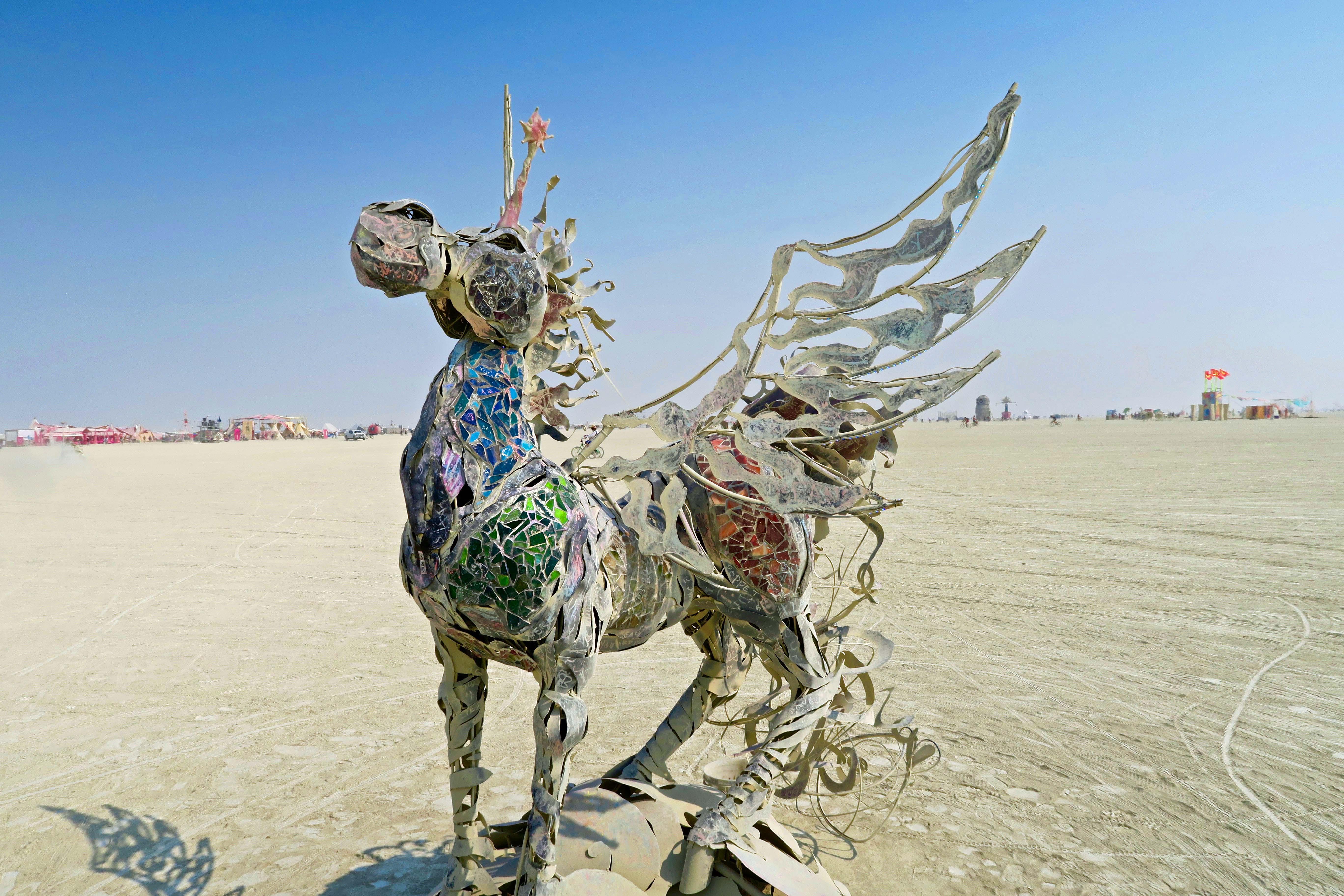 Flying unicorn at Burning Man 2017