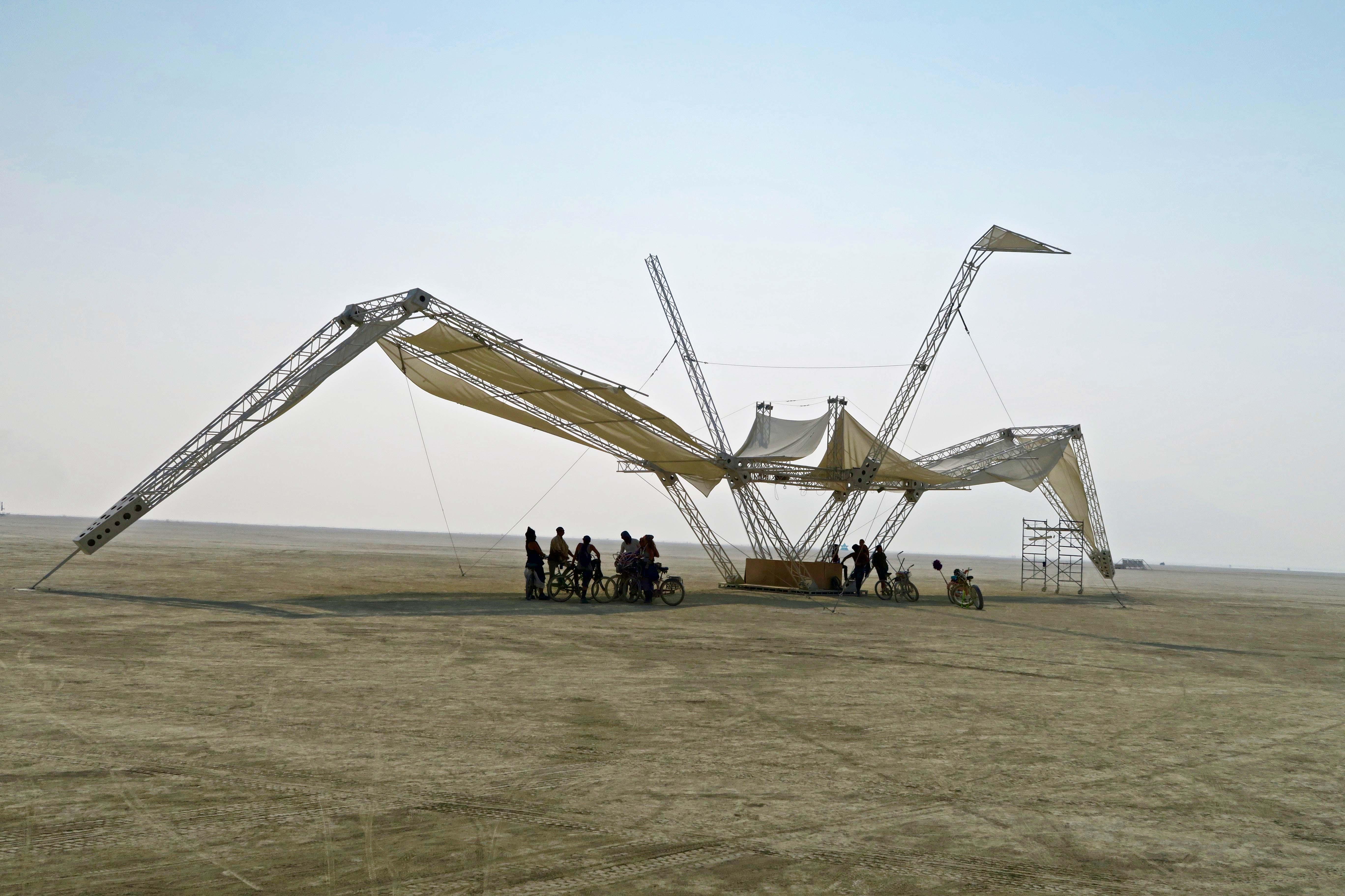 Giant crane named Coco at Burning Man 2017