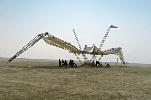 Giant crane named Coco at Burning Man 2017