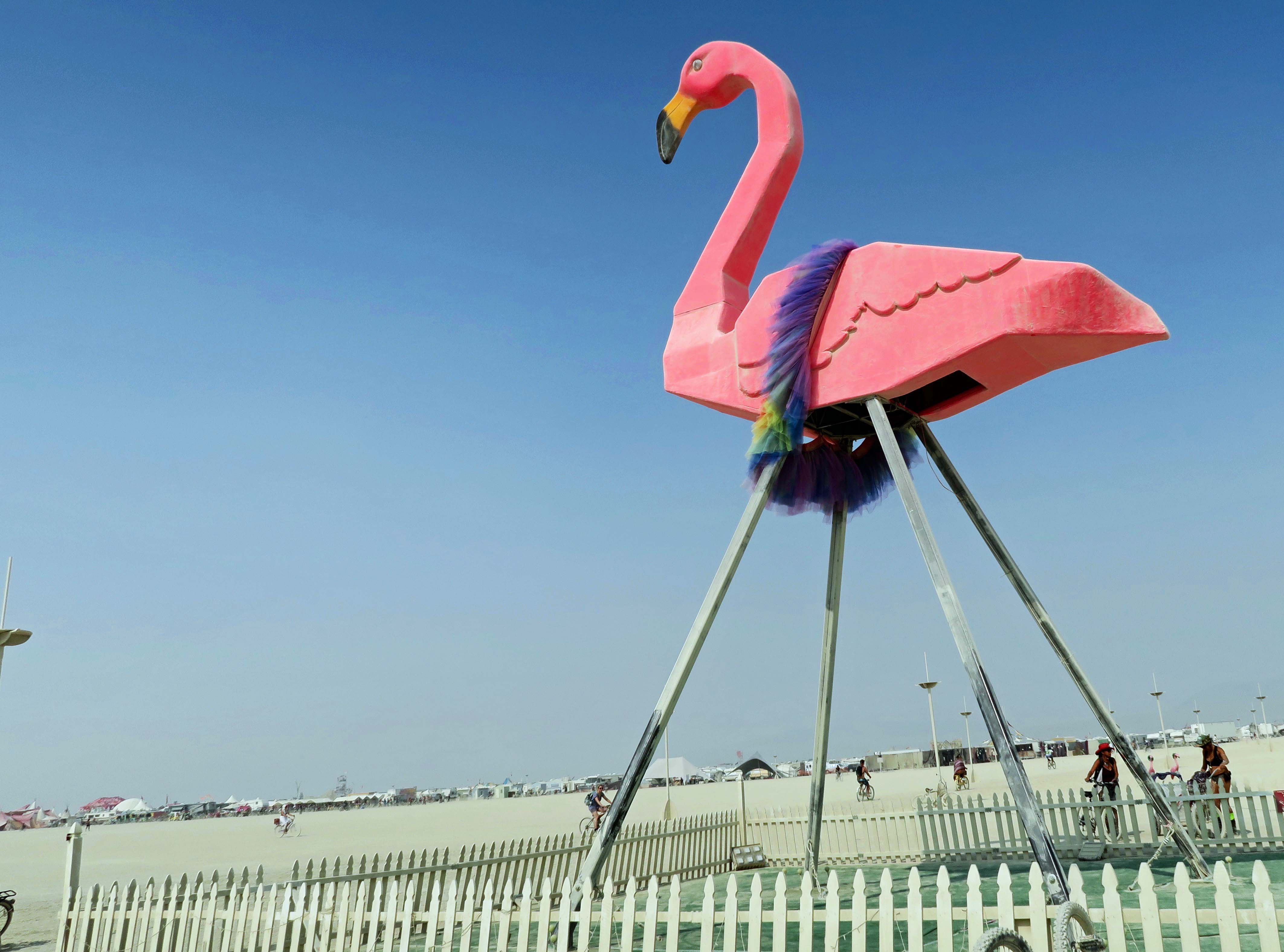 Giant Flamingo wearing boa at Burning Man 2017