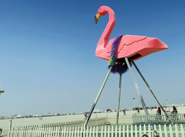Giant Flamingo wearing boa at Burning Man 2017