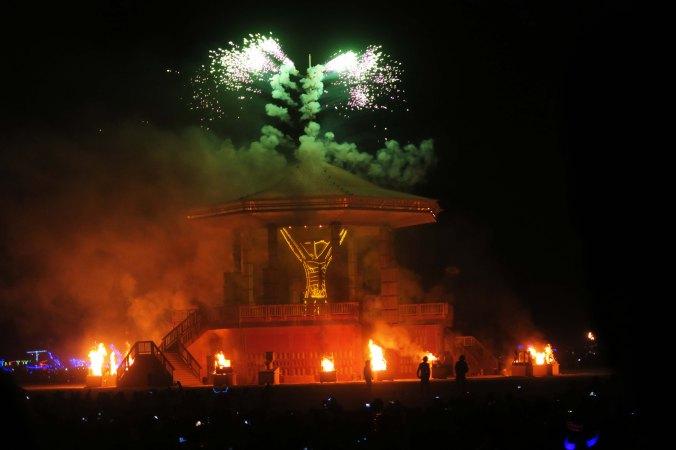 Golden Spike shoots out fireworks, Burning Man 2017