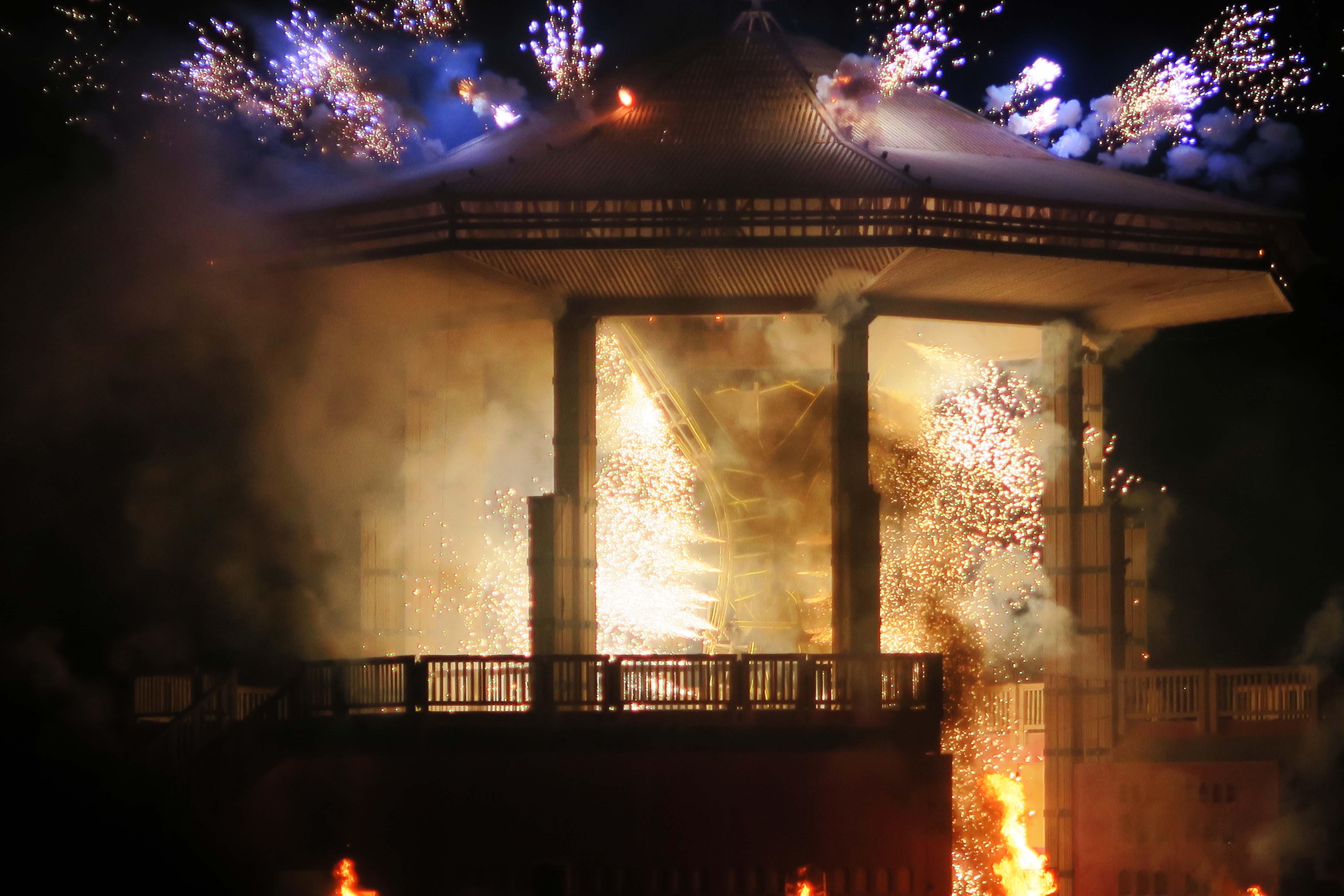 Man shoots out fireworks at Burning Man 2017