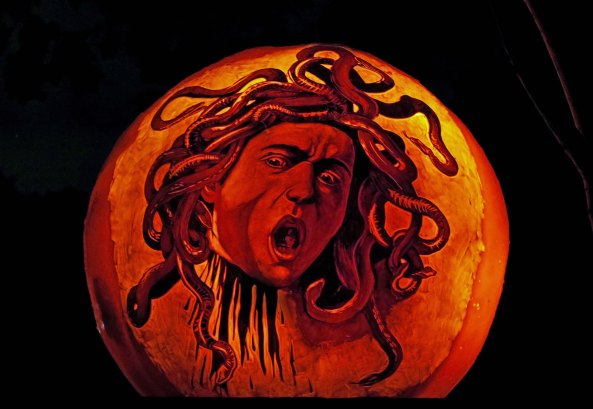 Medusa pumpkin carving at the Jack-o-Lantern Spectacular in Providence, RI