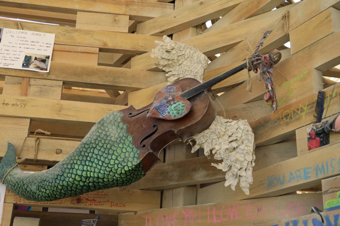 Mermaid Cello in Temple at Burning Man 2017