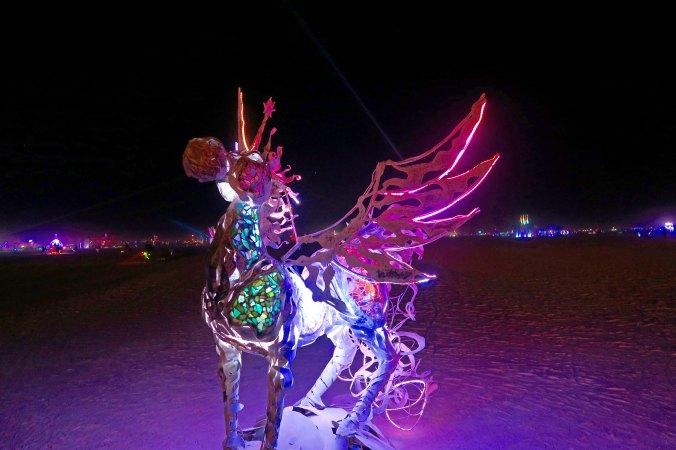 Nighttime flying horse at Burning Man 2017