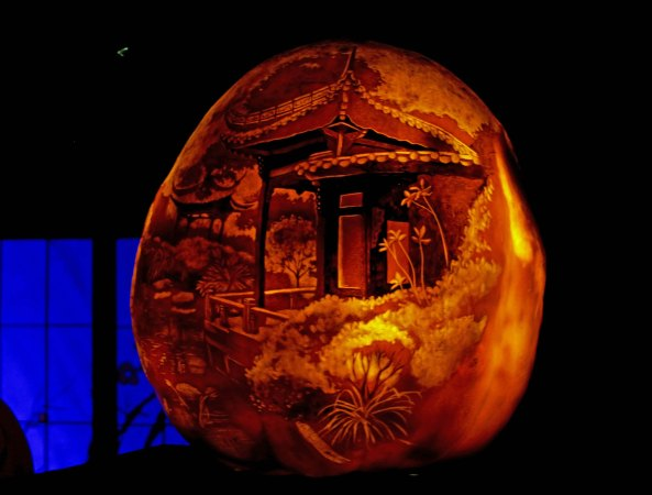 Oriental scene on pumpkin at Jack-o-Lanter Spectacular in Rhode Island