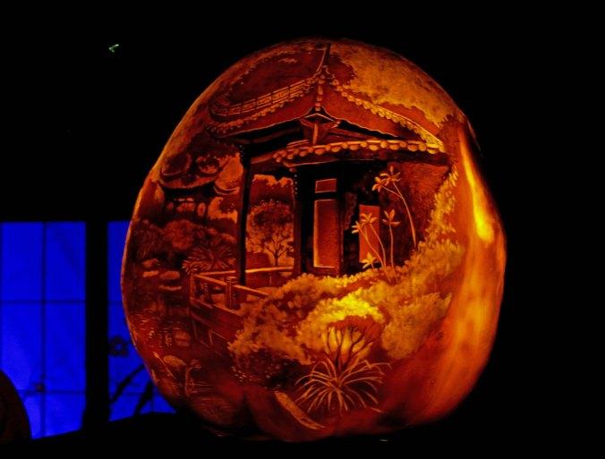 Oriental scene on pumpkin at Jack-o-Lanter Spectacular in Rhode Island