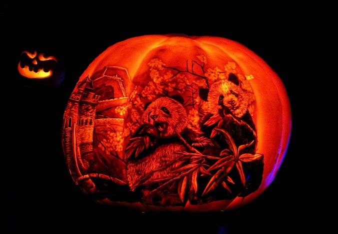 Pandas on pumpkin at Jack-0-Lantern Spectacular, Providence, RI