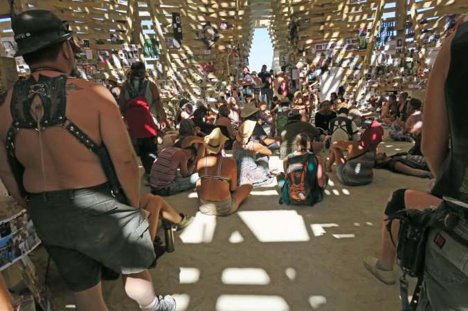 People inside Temple at Burning Man 2017