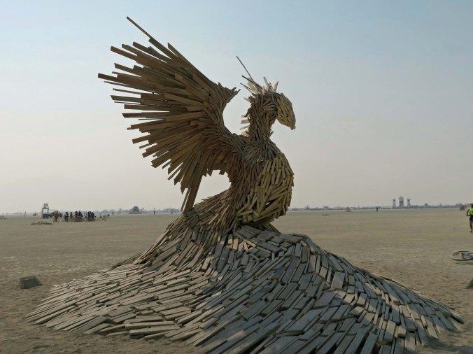 Phoenix Rising out of Playa, Burning Man 2017