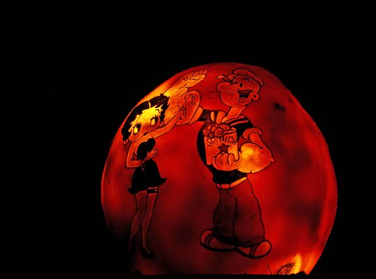 Popeye and Betty Boop pumpkin at Jack-o-Lantern Spectacular, Providence, RI