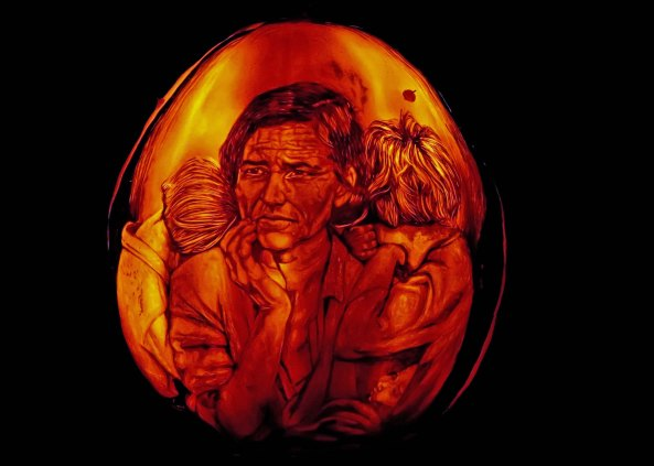 Pumpkin carving of Depression era scene at Jack-o-Lantern Spectacular, Providence, RI