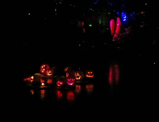 Pumpkins on pond at Jack-o-Lantern Spectacular in Providence, RI