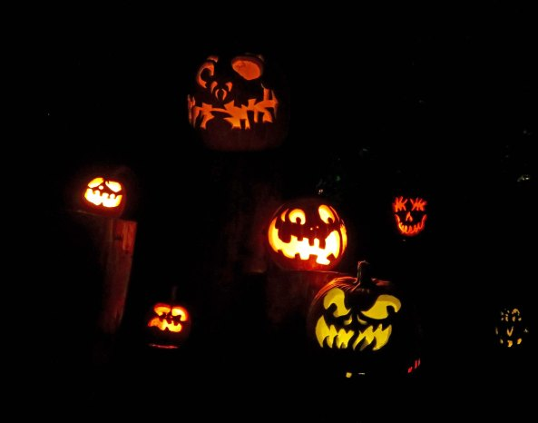 Scary and happy pumpkins at Jack-o-Lantern Spectacular, Providence, RI