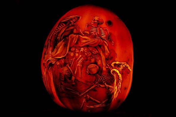 Skeletons carved on pumpkins at Jack-o-Lantern Spectacular in Providence, RI