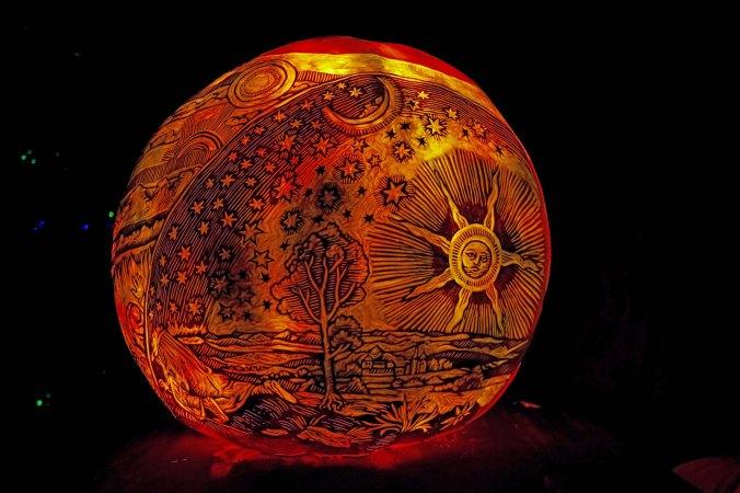 Sun, stars and moon pumpkin at Jack-o-Lantern Spectacular in Providence, RI
