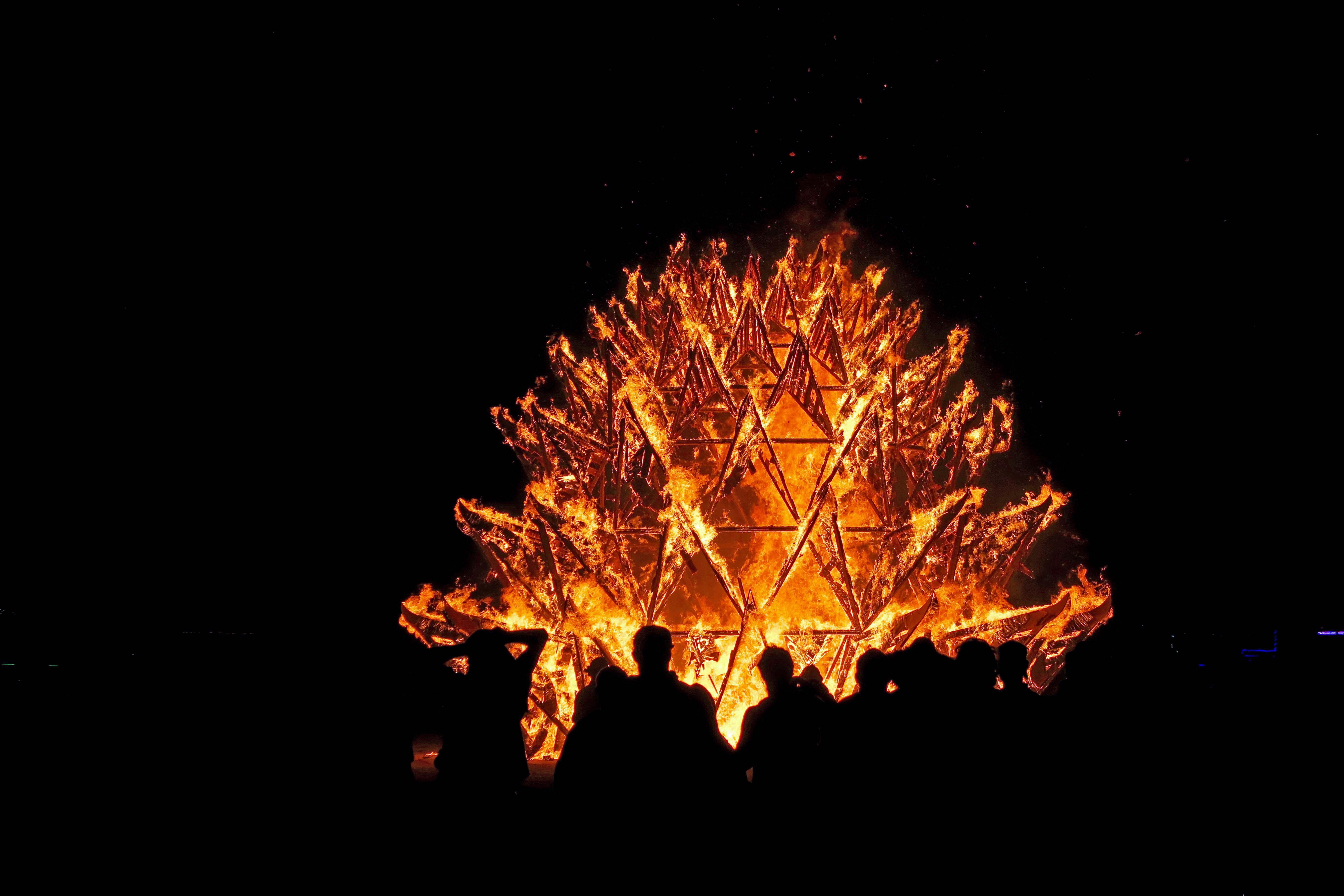 Temple of Awareness burns 1 at Burning Man 2017