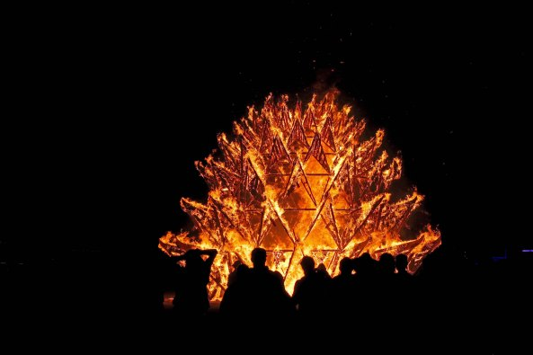 Temple of Awareness burns 1 at Burning Man 2017