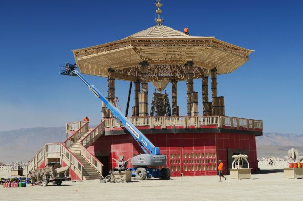 Temple of Golden Spike is prepared for burning, Burning Man 2017