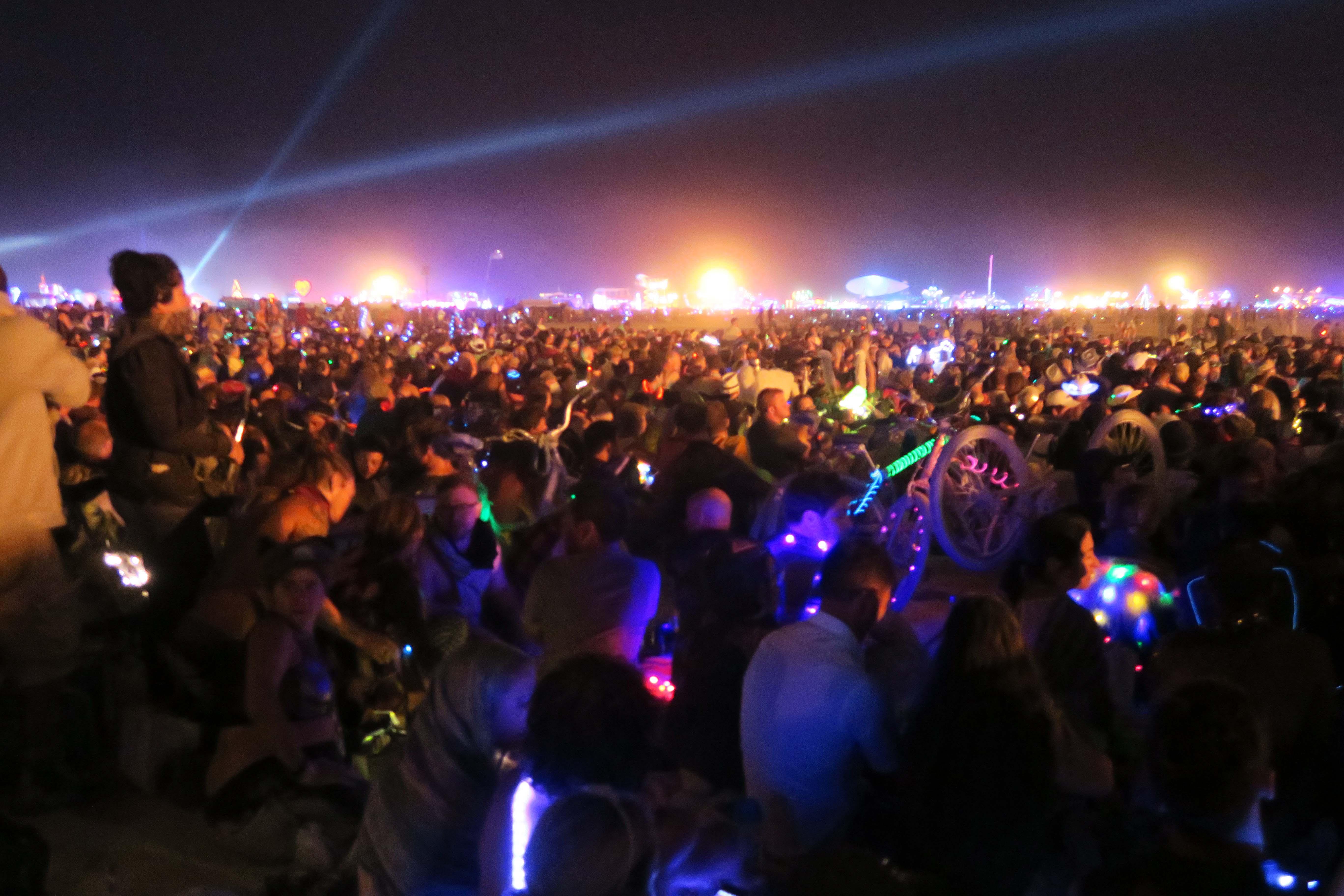 The crowd on Burn Night, Burning Man 2017