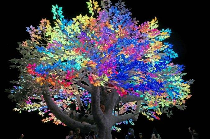 Tree of Ténéré at night, Burning Man 2017