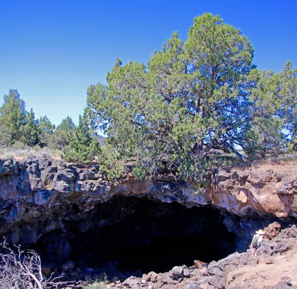 Lava Tube opening at Lava Beds National Monument P1