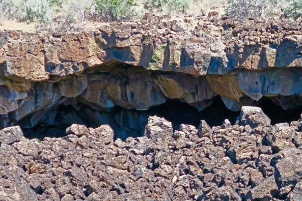 Lava tube opening at Lava Beds National Monument