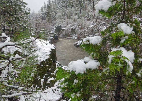 Applegate River in snow storm
