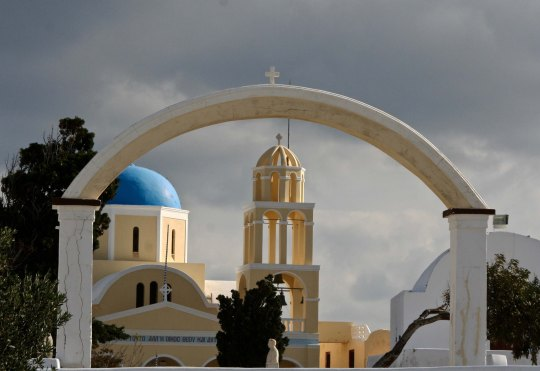 Arch and church in Santorini P