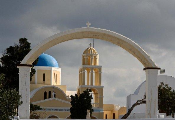 Arch and church in Santorini P