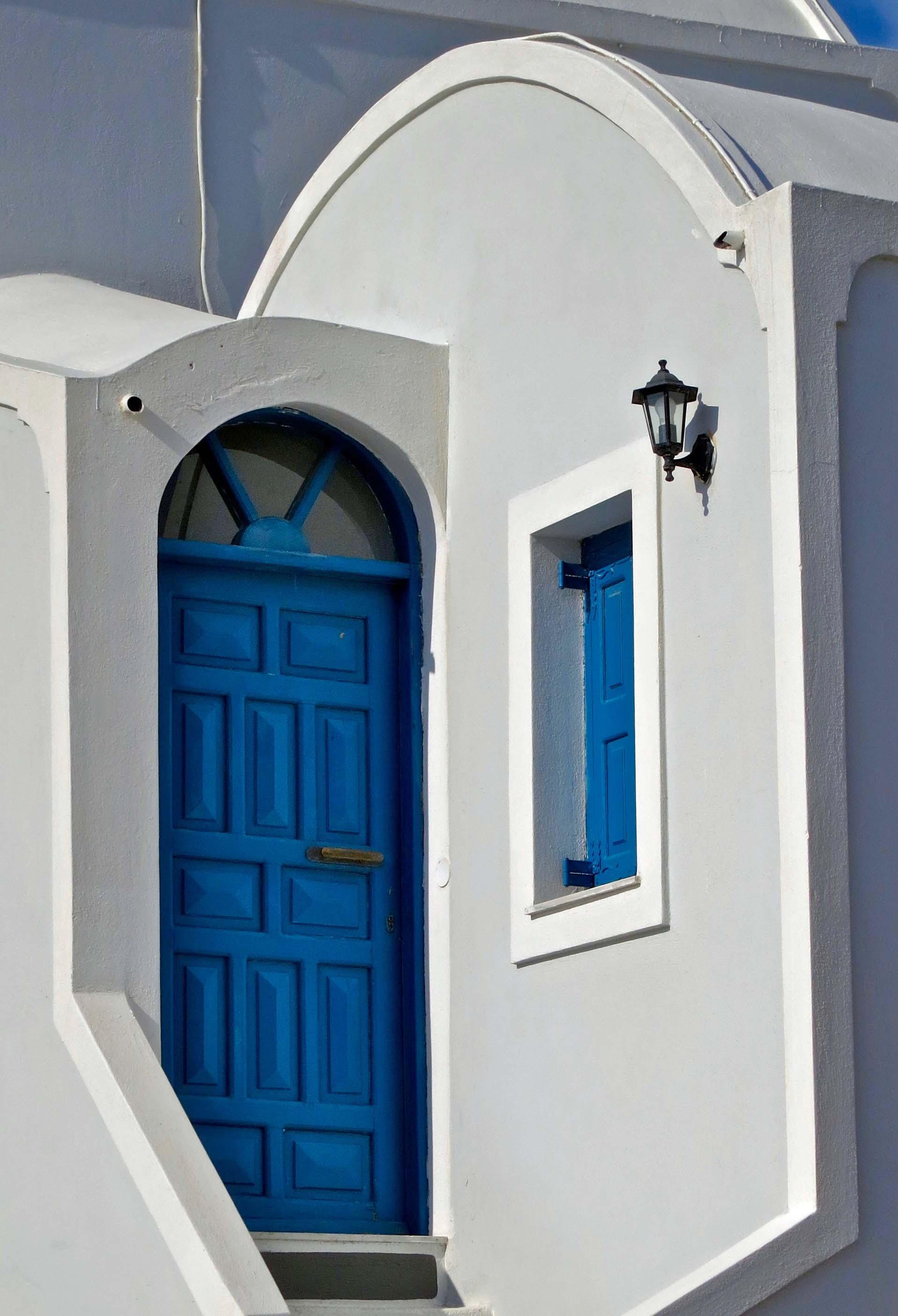 Blue door on Santorini