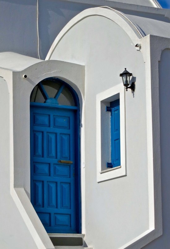 Blue door on Santorini
