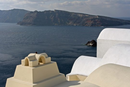 Buildings and bay, Santorini