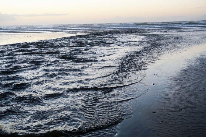 creek that divides Rockaway Beach, Oregon