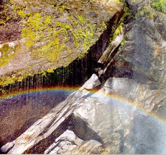 Small rainbow in Milford Sound, New Zealand. (Photo by Curtis Mekemson.)