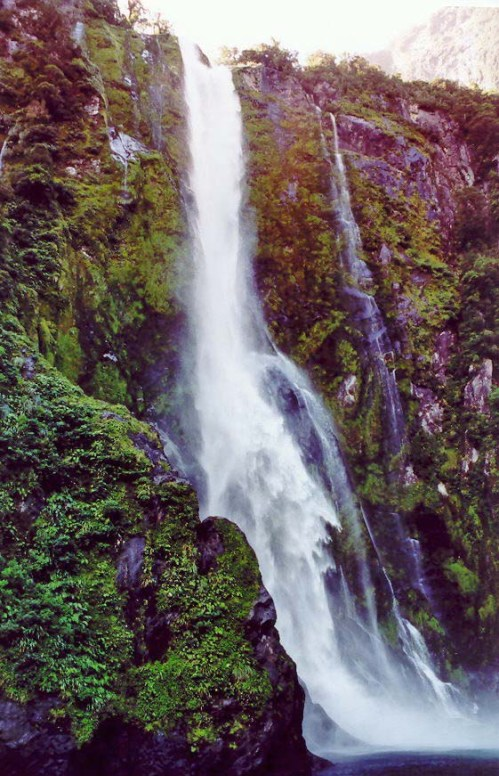 Photo of waterfalls in Milford Sound, New Zealand by Curtis Mekemson.
