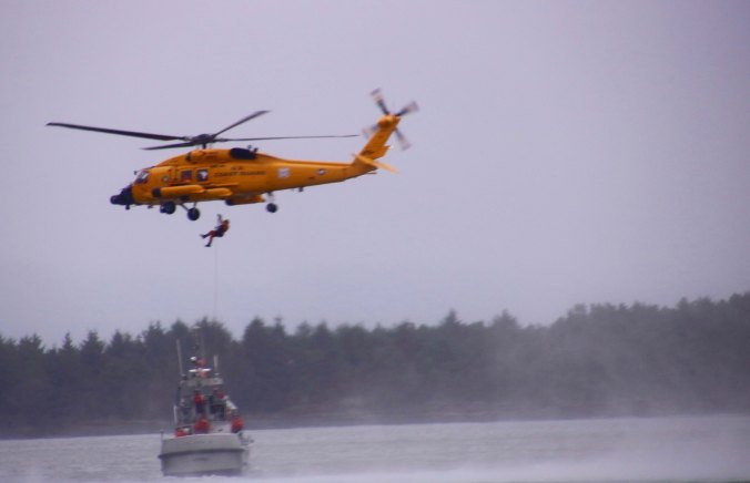Practice rescue mission by the Coast Guard