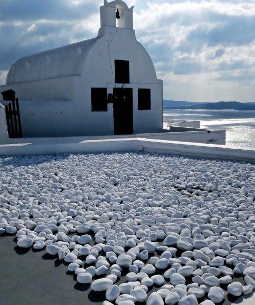 White rocks and chapel on the Greek island of Santorini. Photo by Curtis Mekemson.