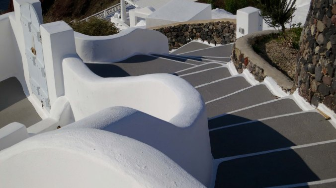 Photo of Santorini stairs by Curtis Mekemson.