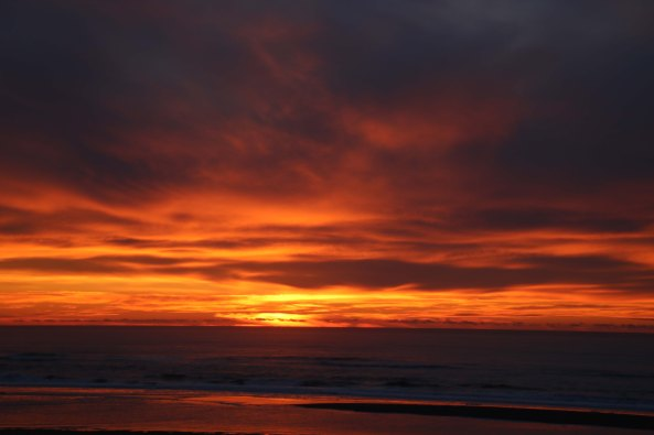 Sunset over Rockaway Beach on the Oregon Coast near Tillamook.