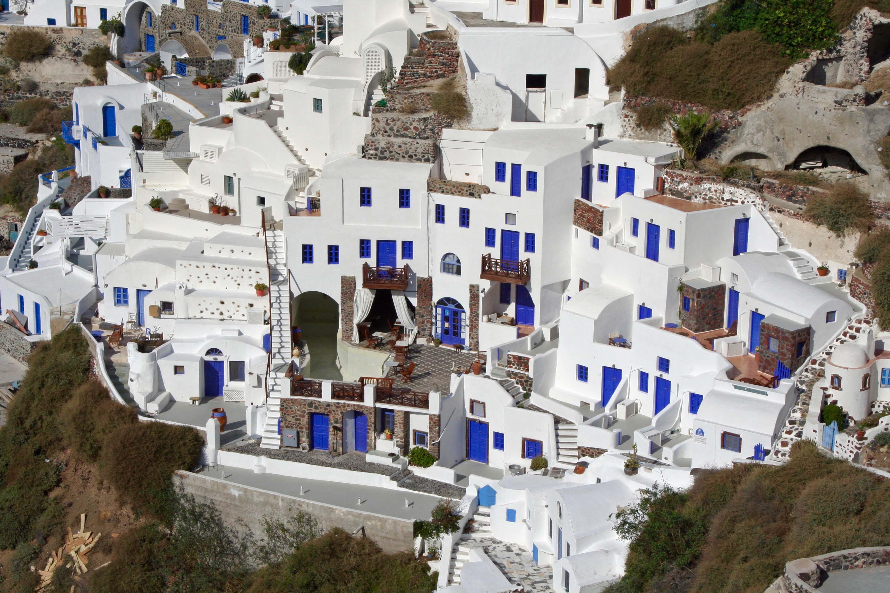 The blue doors of Santorini