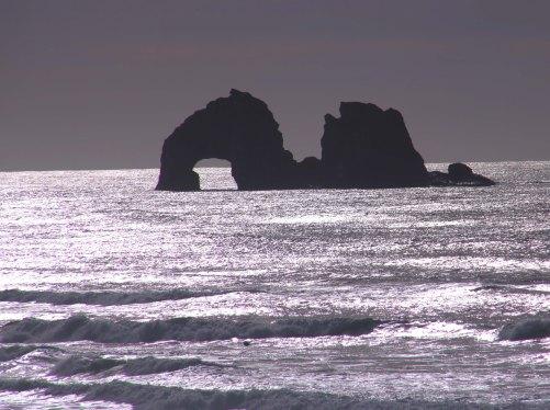 The rocks of Rockaway beach photographed by Curtis Mekemson.
