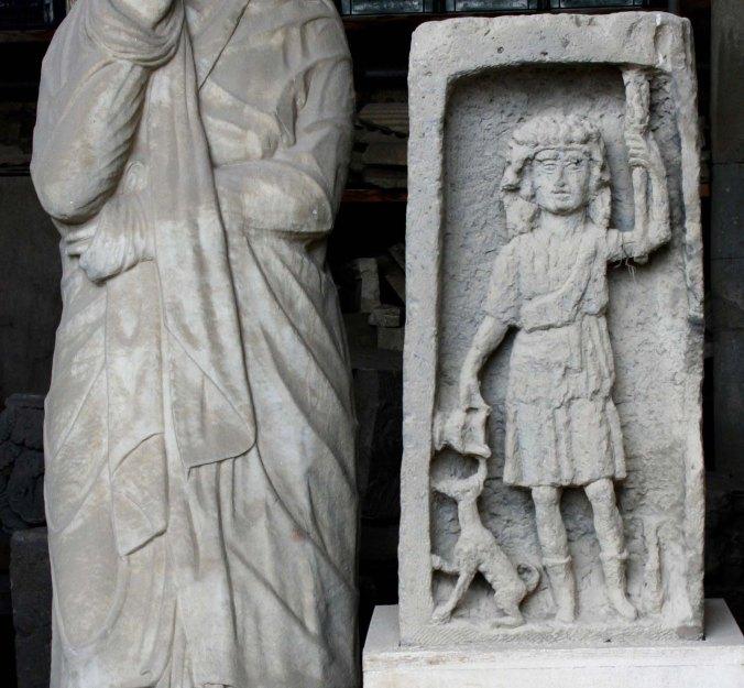 Child with dog at Pompeii