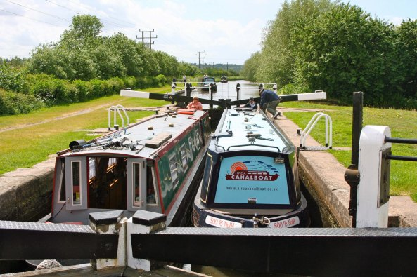 Double-wide lock on Trent and Mersey Canal