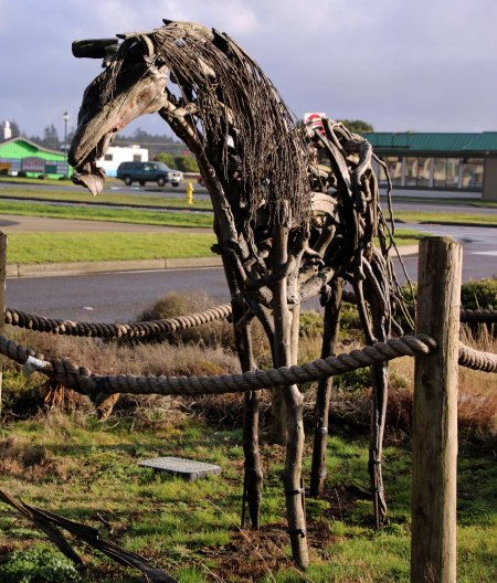 Driftwood horse at Ocean Shores, Washington photo by Peggy Mekemson.