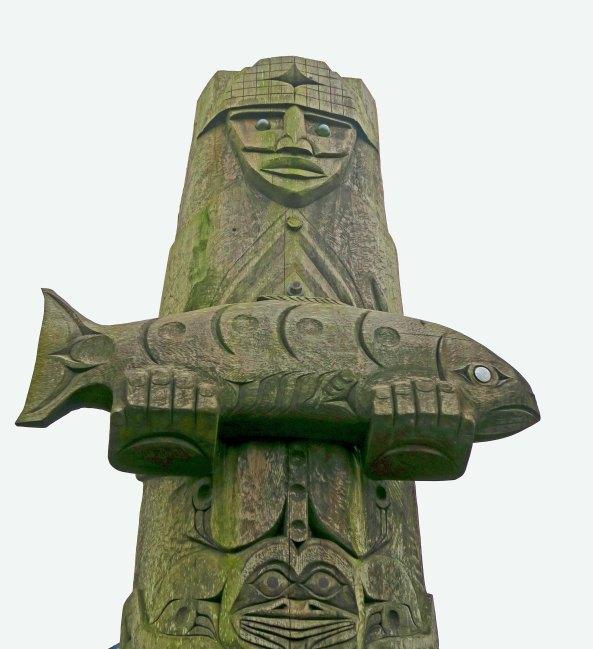 Gift of salmon totem pole at Taholah, WA