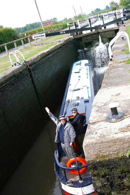 Narrowboat in lock on Trent and Mercy Canal